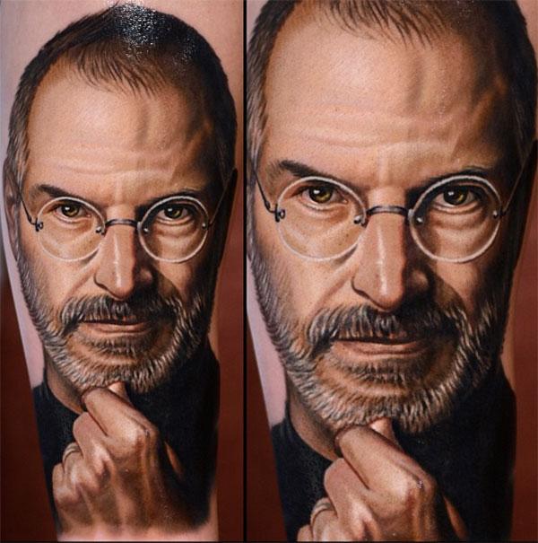 Tatuiruotė su Steve Jobs atvaizdu